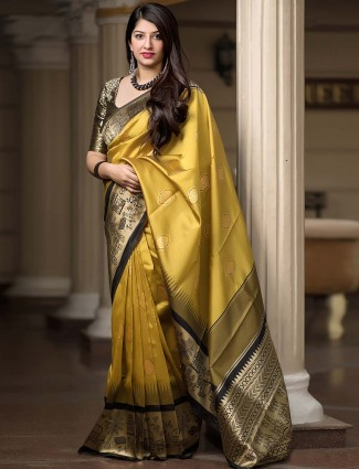 Golden hue banarasi silk festive saree