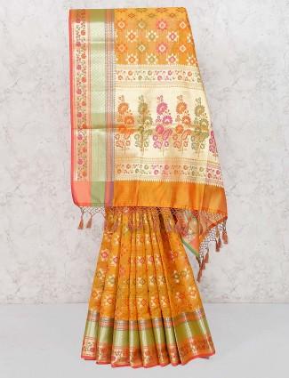 Golden hue gorgeous saree in banarasi semi silk
