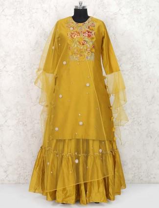 Golden hue lehenga cum salwar suit in raw silk
