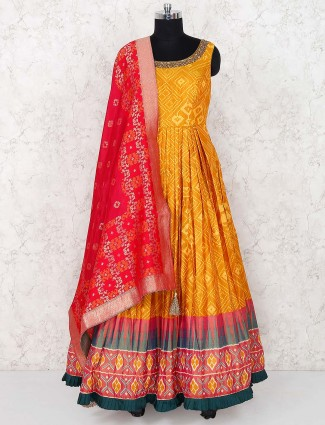 Golden hue lovely floor length anarkali salwar suit in cotton silk