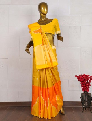 Golden hue saree in pure banarasi