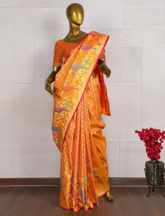 Golden hue saree in pure banarasi silk