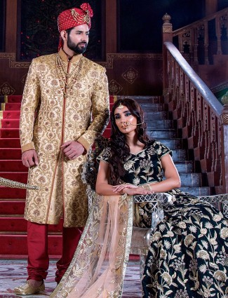 Golden jamwar classy sherwani