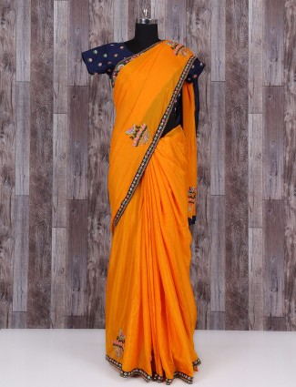 Golden marble chiffon saree