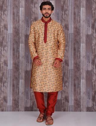 Golden printed silk wedding wear kurta suit