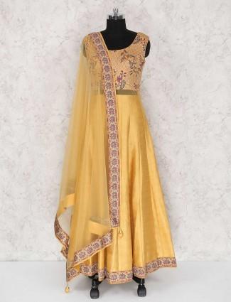 Golden raw silk festive wear anarkali suit