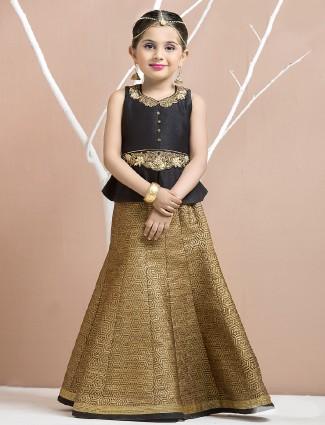 Golden silk party wear lehenga choli
