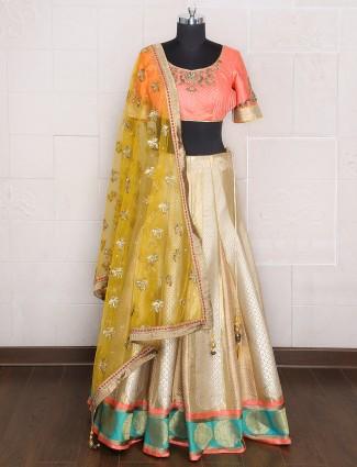 Golden silk wedding wear designer lehenga choli