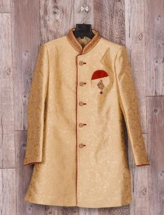 Golden wedding wear silk indo western