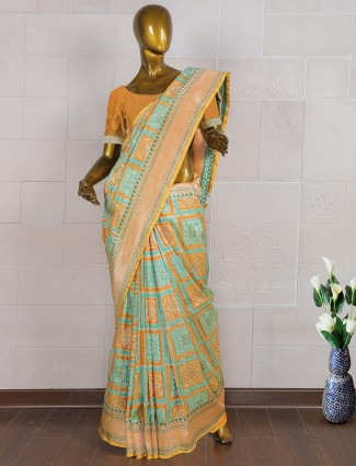 Gorgeous aqua hue saree in pure banarasi