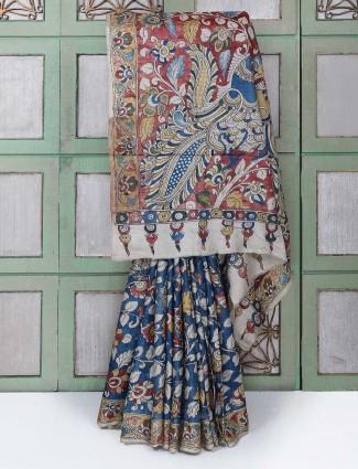 Gorgeous blue color printed saree