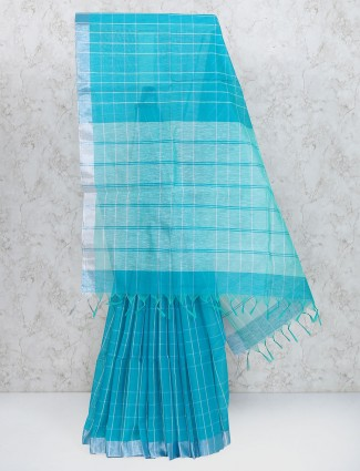 Gorgeous blue cotton silk festive saree