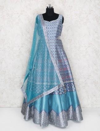 Gorgeous blue floor length anarkali suit in silk