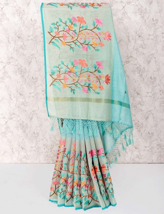 Gorgeous blue hue saree