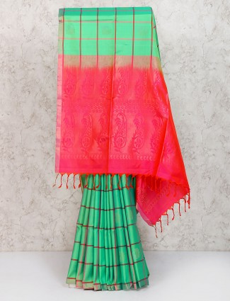 Gorgeous green color pure silk saree