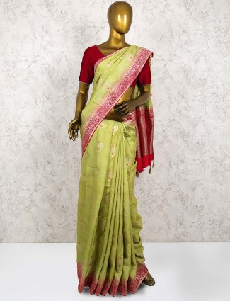 Gorgeous green color saree in silk