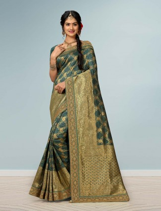Gorgeous green embellish banarasi silk saree