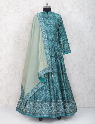 Gorgeous green floor length anarkali suit in cotton silk