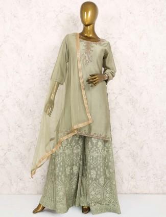 Gorgeous green hued cotton silk fabric