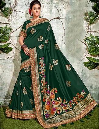 Gorgeous green hued saree in semi silk