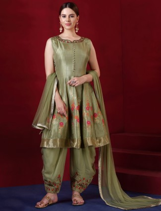 Gorgeous green punjabi salwar suit in silk