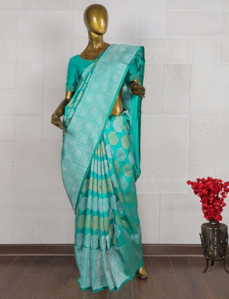Gorgeous green pure banarasi silk saree