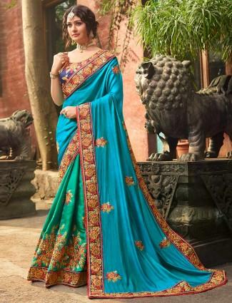 Gorgeous green raw silk half and half saree