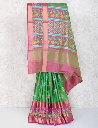 Gorgeous green saree in cotton silk