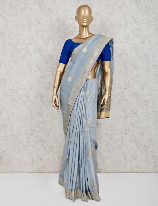 Gorgeous grey dola silk saree with tassels