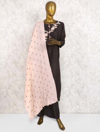 Gorgeous grey hue cotton silk punjabi salwar suit