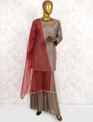 Gorgeous grey hue raw silk floor length anarkali suit