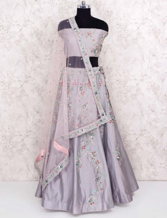 Gorgeous grey hue semi stitched lehenga choli