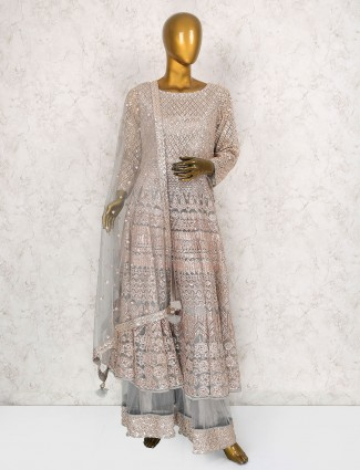Gorgeous grey net fabric sharara suit