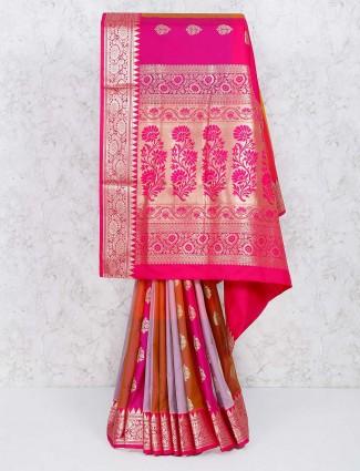 Gorgeous magenta semi silk saree