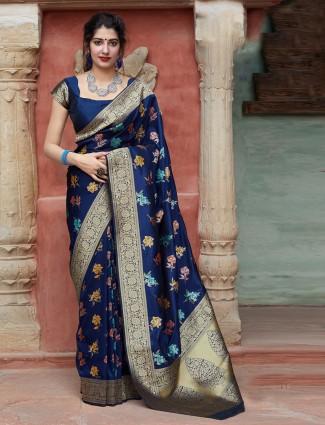 Gorgeous navy banarasi silk saree