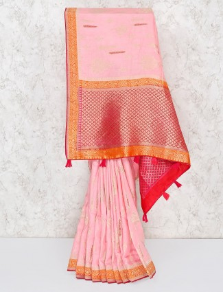 Gorgeous pink saree in semi silk