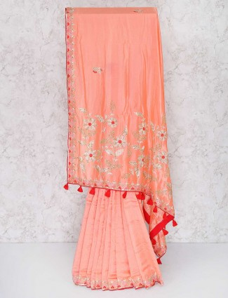 Gorgeous pink semi silk saree