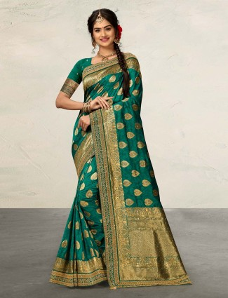 Gorgeous rama green cotton silk saree