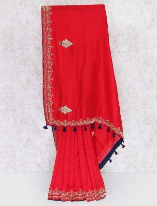 Gorgeous red semi silk saree