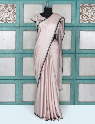 Gorgeous rose pink party wear saree with ready made blouse
