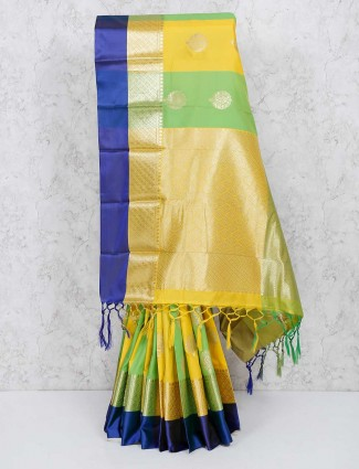 Gorgeous yellow and green wedding wear saree