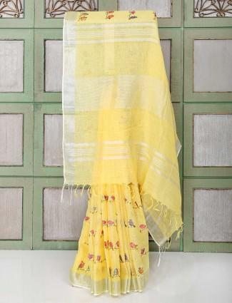 Gorgeous yellow color festive saree