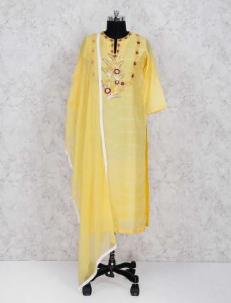 Gorgeous yellow festive wear palazzo suit