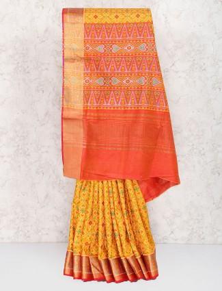 Gorgeous yellow hue cotton silk saree