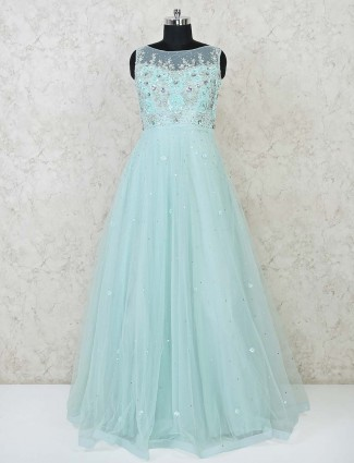Gown in net fabric sea green