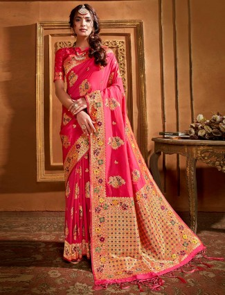 Gracious pink banarasi silk saree for wedding