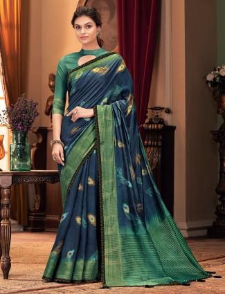 Grandiose blue cotton saree for festive look