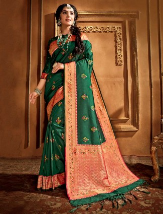 Grass green woven banarasi silk saree