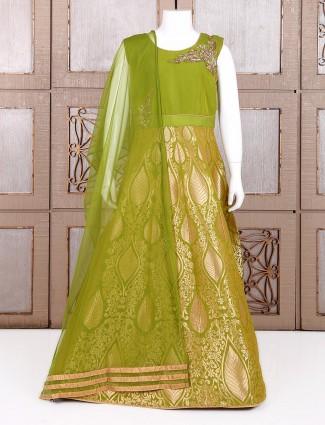 Green alluring  silk anarkali suit