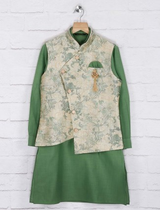 Green and beige printed cotton jute waistcoat set